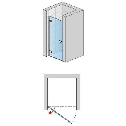 Usa de dus pivotanta Sanswiss Escura Aquaperle 90cm stanga, sticla securizata transparenta 6mm, profil slefuit lucios