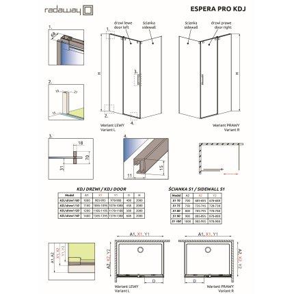 Perete fix Radaway Furo Gold S1 100cm