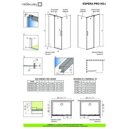 Perete fix Radaway Espera Pro S1 100cm