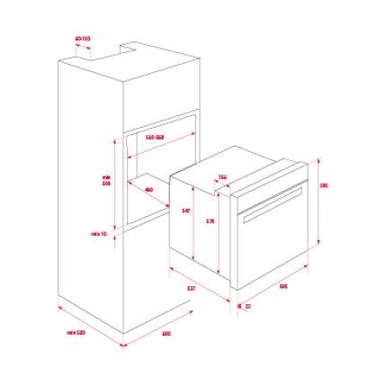 Cuptor electric incorporabil Teka HLB 840 71 litri, multifunctional, 9 functii, HydroClean PRO, clasa A+, inox anti-pata/cristal negru