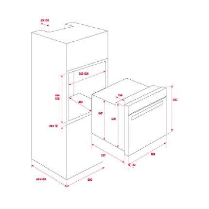 Set Teka Negru : Cuptor electric HLB 840 71 litri + Plita gaz GZC 64300 cu 4 arzatoare