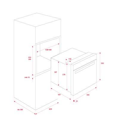 Cuptor electric incorporabil Teka HSB 635 P 71 litri, multifunctional 8 functii, autocuratare pirolitica & HydroClean PRO, clasa A+, inox anti- pata