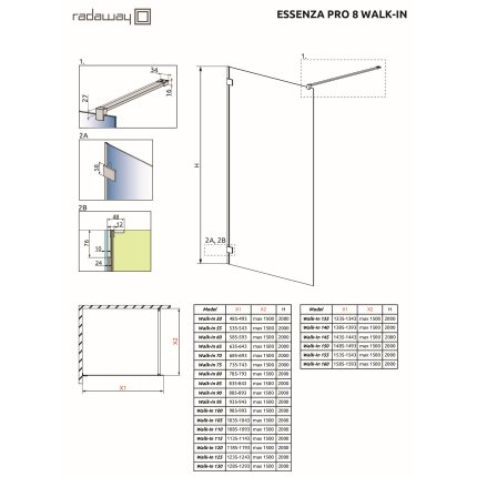 Cabina de dus tip Walk-in Radaway Essenza Pro 8 Gold 50 cm