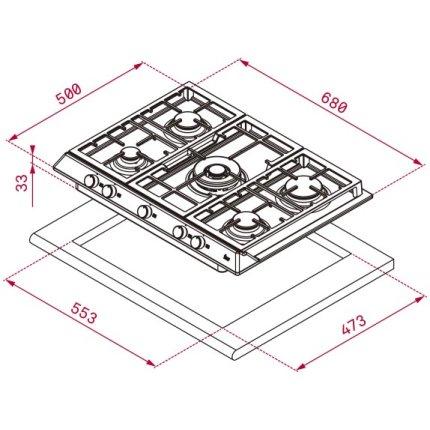 Plita gaz incorporabila Teka EX 70.1 5G AI AL DR CI cu 5 arzatoare, 70 cm, gratare fonta, inox