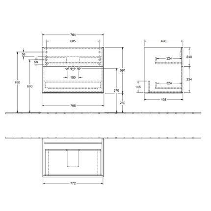 Dulap baza suspendat Villeroy & Boch Finion 80x59x50cm, Glossy Black Laquer