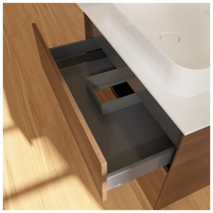 Dulap baza suspendat Villeroy & Boch Finion 80x60x50cm, tip blat, Wallnut Veneer / Glass White Matt