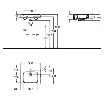 Lavoar Kolo Modo 50x40cm, montare pe mobilier
