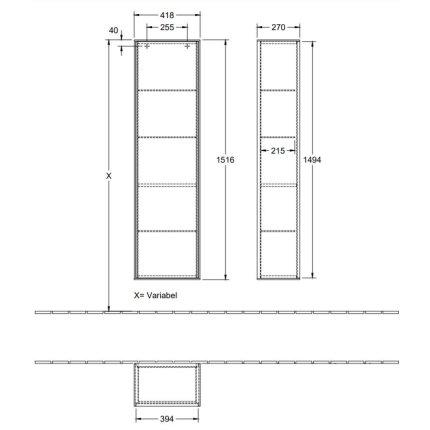 Dulap inalt suspendat Villeroy & Boch Finion 151x41x27cm, Anthracite Matt Laquer