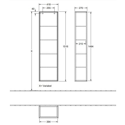 Dulap inalt suspendat Villeroy & Boch Finion 151x41x27cm, Glossy Black Laquer