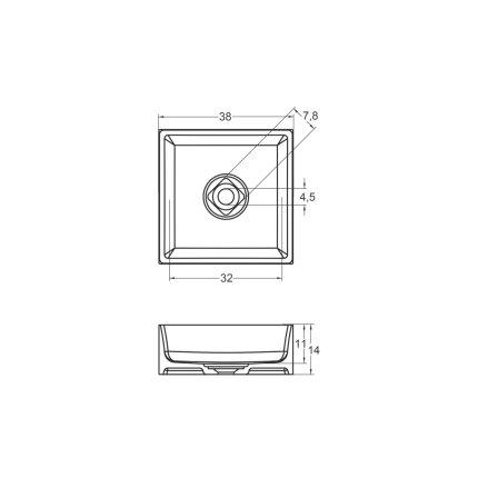 Lavoar tip bol Riho Eckig 38x38cm, solid surface, alb mat