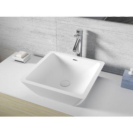 Lavoar patrat Riho Avella 42x42cm, Solid Surface, alb mat
