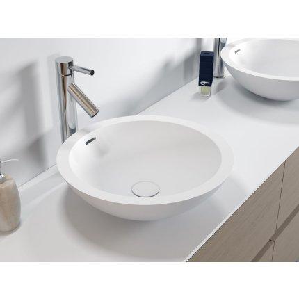 Lavoar rotund tip bol Riho Avella 42cm, Solid Surface, alb mat