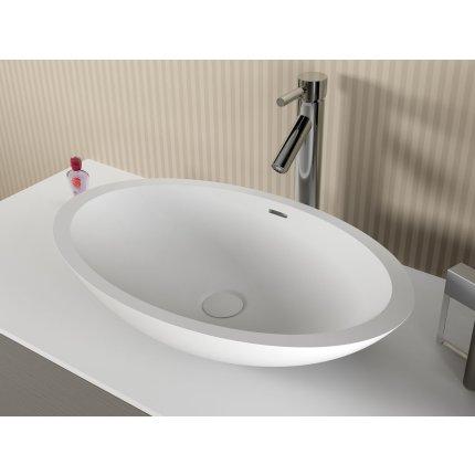 Lavoar oval tip bol Riho Avella 58x36cm Solid Surface, alb mat