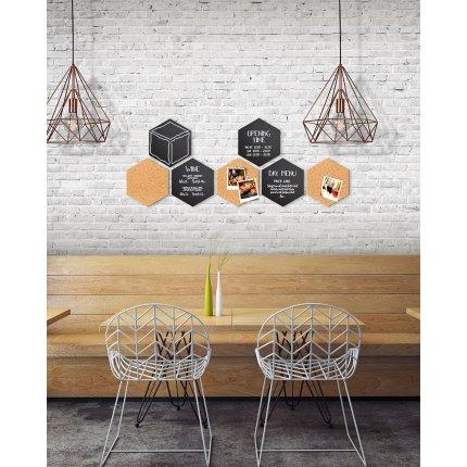 Set Securit Hexagon cu 4 table de scris 20x23cm si 3 panouri pluta 20x23x2cm