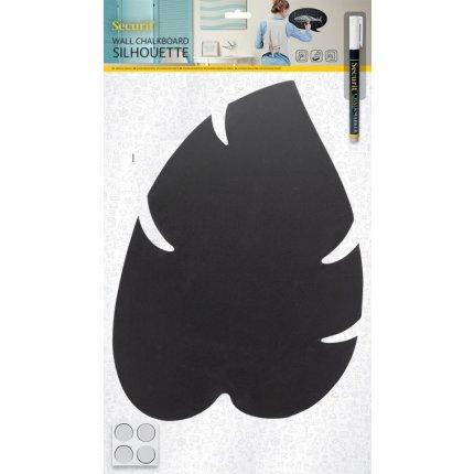 Tabla de scris autoadeziva Securit Silhouette Leaf 43,8x29x0,3cm, include marker creta, negru