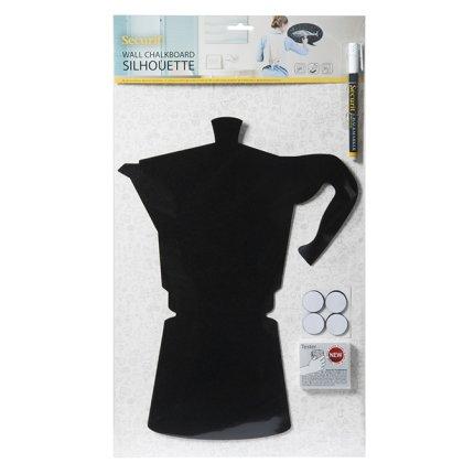 Tabla de scris autoadeziva Securit Silhouette Moka 39x29x0,3cm, include marker creta, negru