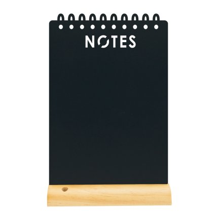 Tabla de scris Securit Silhouette Notes 34x21x6cm, baza de lemn, include marker creta, negru