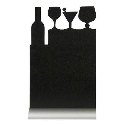 Tabla de scris Securit Silhouette Cocktail 34,5x21x6cm, baza aluminiu, include marker creta, negru