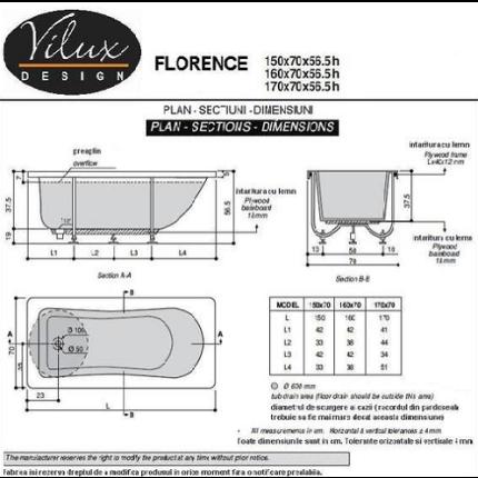 Cada cu hidromasaj Vilux Florence 170x70cm cu sistem Touch Tronic