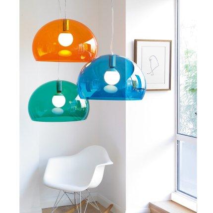 Suspensie Kartell FL/Y design Ferruccio Laviani, E27 max 15W LED, h28cm, albastru petrol transparent