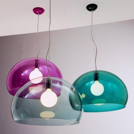 Suspensie Kartell FL/Y design Ferruccio Laviani, E27 max 15W LED, h33cm, rosu transparent