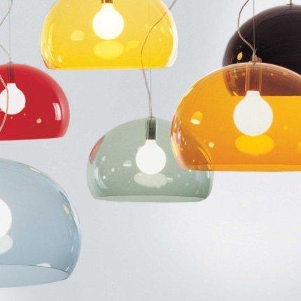 Suspensie Kartell FL/Y design Ferruccio Laviani, E27 max 15W LED, h28cm, rosu transparent