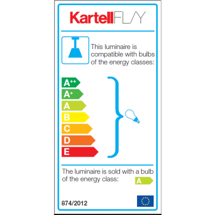 Suspensie Kartell FL/Y design Ferruccio Laviani, E27 max 15W LED, h28cm, portocaliu transparent