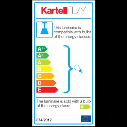 Suspensie Kartell FL/Y design Ferruccio Laviani, E27 max 15W LED, h33cm, galben transparent
