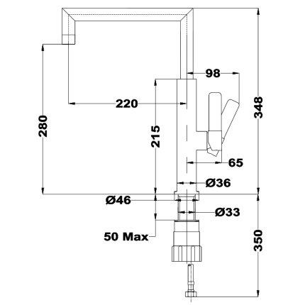 Baterie bucatarie Teka FOT 990 cu pipa inalta, crom