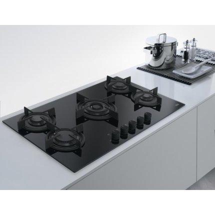 Plita gaz incorporabila Franke Crystal Black FHCR 905 4G TC HE BK C cu 5 arzatoare, 880x510mm, gratare fonta