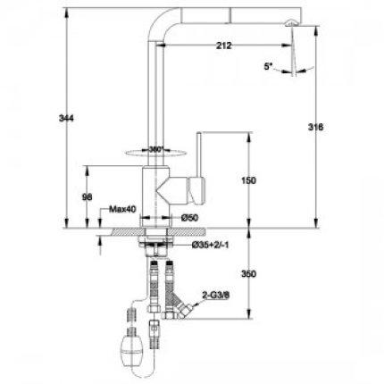 Set Franke Avena: Chiuveta fragranite Urban UBG 620-78 cu doua cuve, 780x500mm + Baterie bucatarie Sirius cu dus extractibil