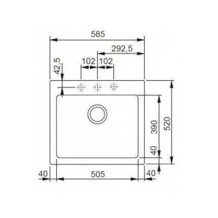 Set Franke Nero: Chiuveta fragranite Maris MRG 610-58, 585x520mm  + Baterie bucatarie Franke Sirius cu dus extractibil