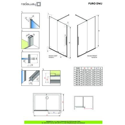 Usa de nisa culisanta Radaway Furo DWJ 110cm deschidere stanga