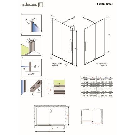 Usa de nisa culisanta Radaway Furo DWJ 150cm deschidere stanga