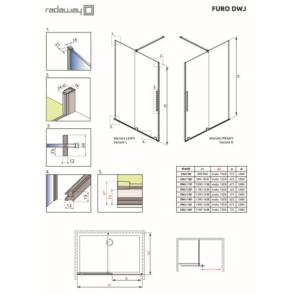 Usa de nisa culisanta Radaway Furo DWJ 130cm deschidere stanga