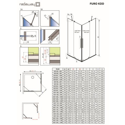 Usa de dus glisanta Radaway Furo KDD 100cm, deschidere stanga