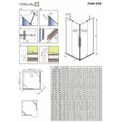 Usa de dus glisanta Radaway Furo Black KDD 100cm, deschidere dreapta