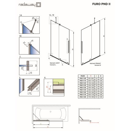 Paravan cada cu element culisant Radaway Furo Black PND II 140cm, orientare stanga