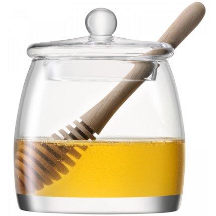 Vas servire miere cu capac si lingurita LSA International Serve h12.5cm