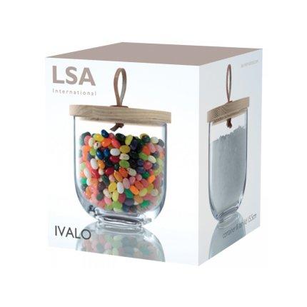 Recipient sticla LSA International Ivalo cu capac lemn frasin h15.5cm