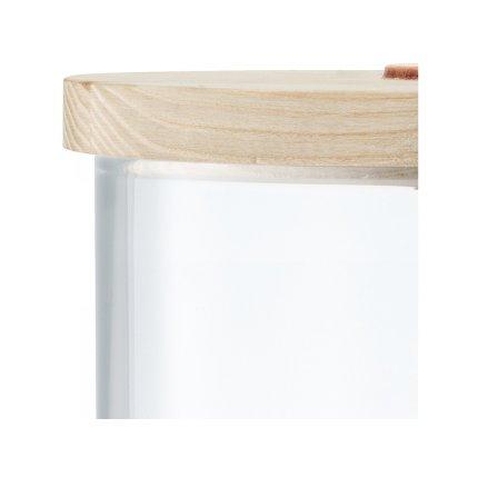 Recipient sticla LSA International Ivalo cu capac lemn frasin h29.5cm