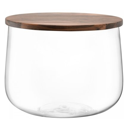 Bol sticla cu capac lemn nuc LSA International City 32cm