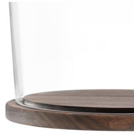 Platou lemn nuc cu capac sticla LSA International City 22cm, h20cm