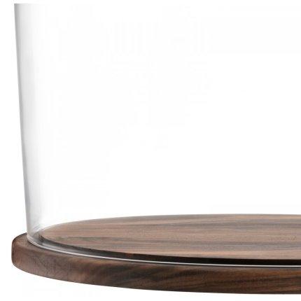 Platou lemn nuc cu capac sticla LSA International City 32cm, h29cm