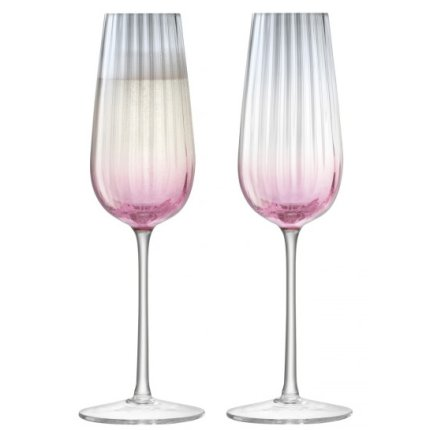 Set 2 pahare sampanie LSA International Dusk Flute 250ml Pink/Grey
