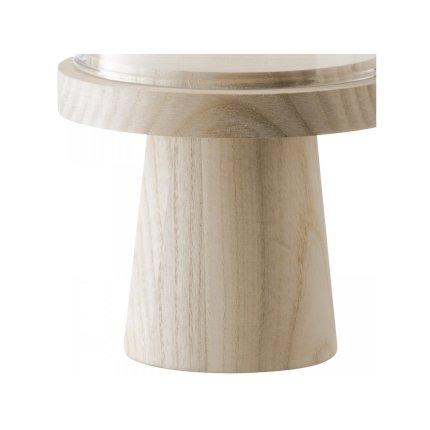 Platou lemn frasin cu picior si capac sticla LSA International Ivalo 11.5cm, h19cm