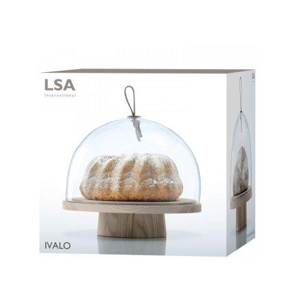 Platou lemn frasin cu picior si capac sticla LSA International Ivalo 28cm, h23cm