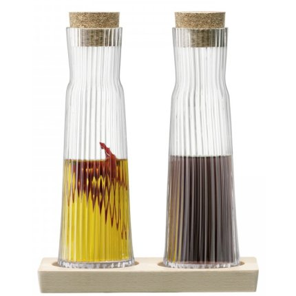 Set 2 sticle cu dop si suport lemn LSA International Gio Line 200ml