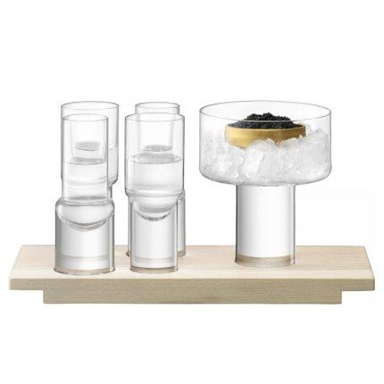 Set LSA International Vodka Duo cu 4 pahare, bol cu picior si suport lemn