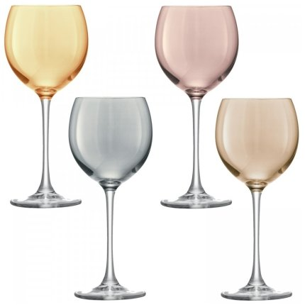 Set 4 pahare vin LSA International Polka Metallics 400ml